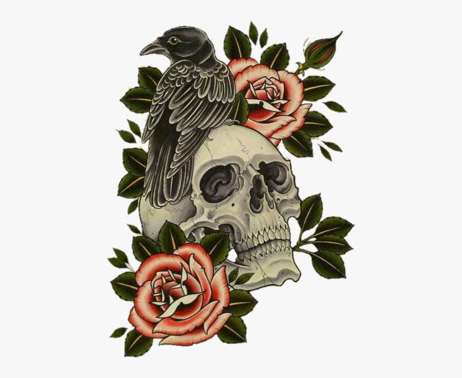 #skull #flower #crow #raven #rose #halloween - Raven Skull Rose Tattoo, Transparent Clipart