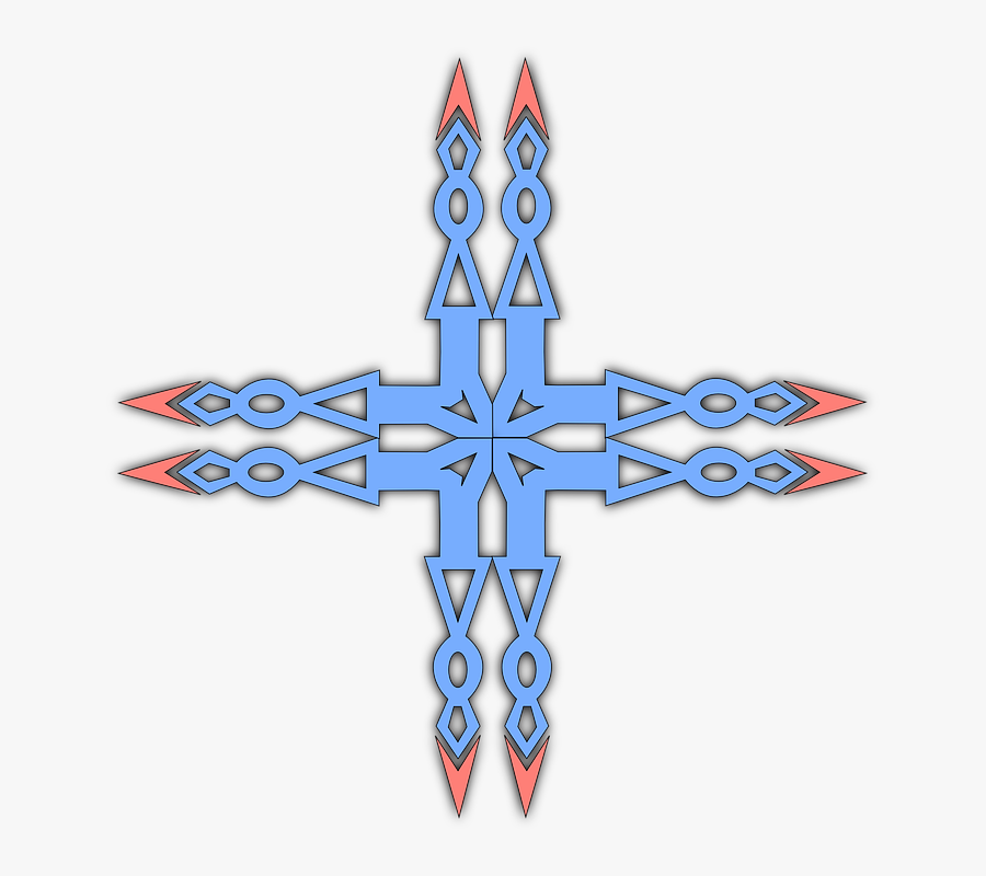 Cross, Double, Thin, Blue, Symbol, Sign, Pointed, Edge - Christian Cross, Transparent Clipart