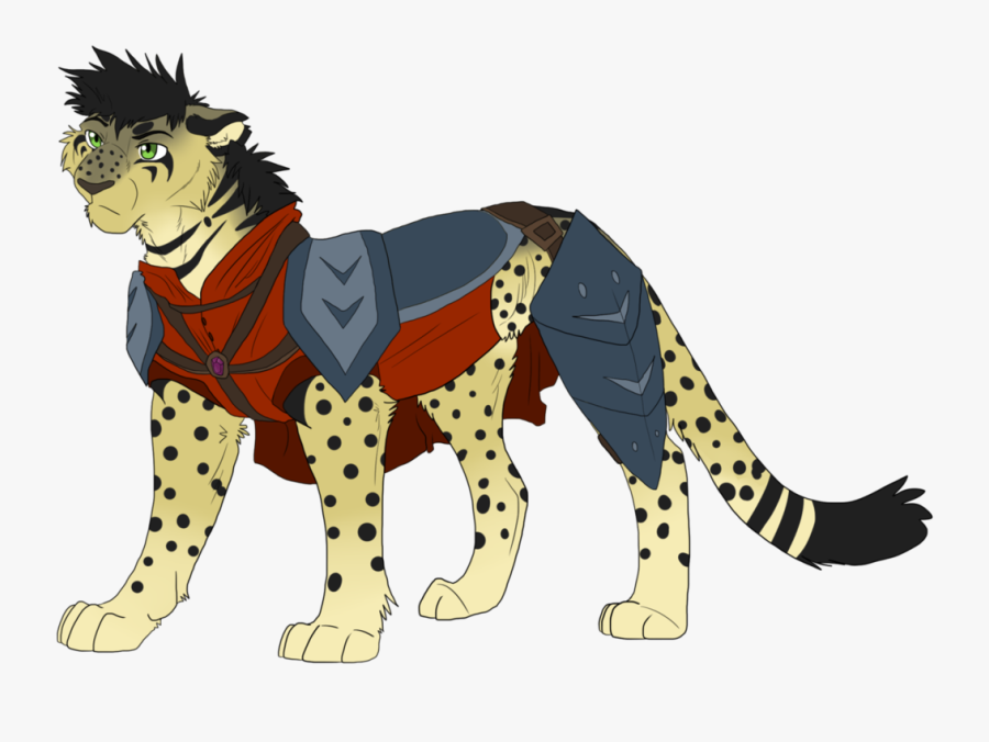 Cheetah Clipart Clear Background - Cheetah In Armour Drawing, Transparent Clipart