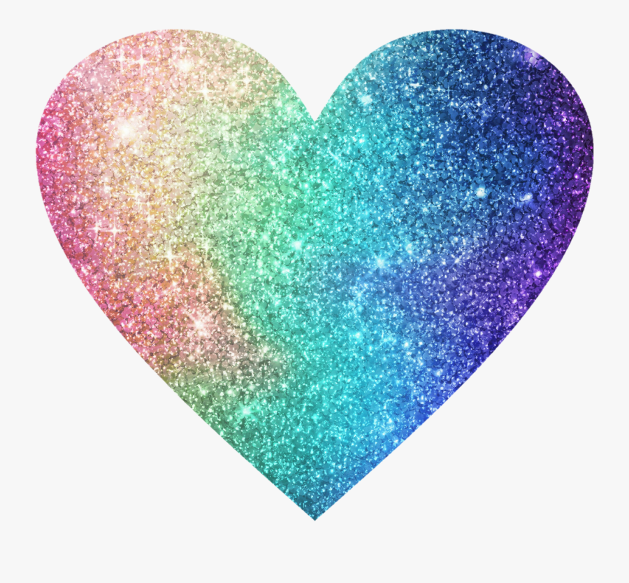 Image Heart Rainbow Glitter Color - Glitter Heart Transparent Background, Transparent Clipart