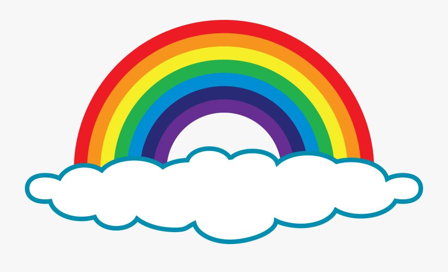 Rainbow Clip Simple - Rainbow With One Cloud, Transparent Clipart