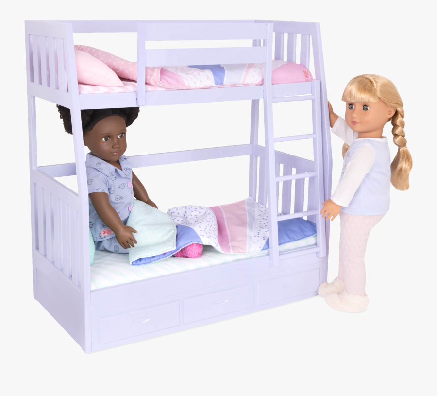 Gloria And Jovie Dolls In Bed - Our Generation Dream Bunk Beds, Transparent Clipart