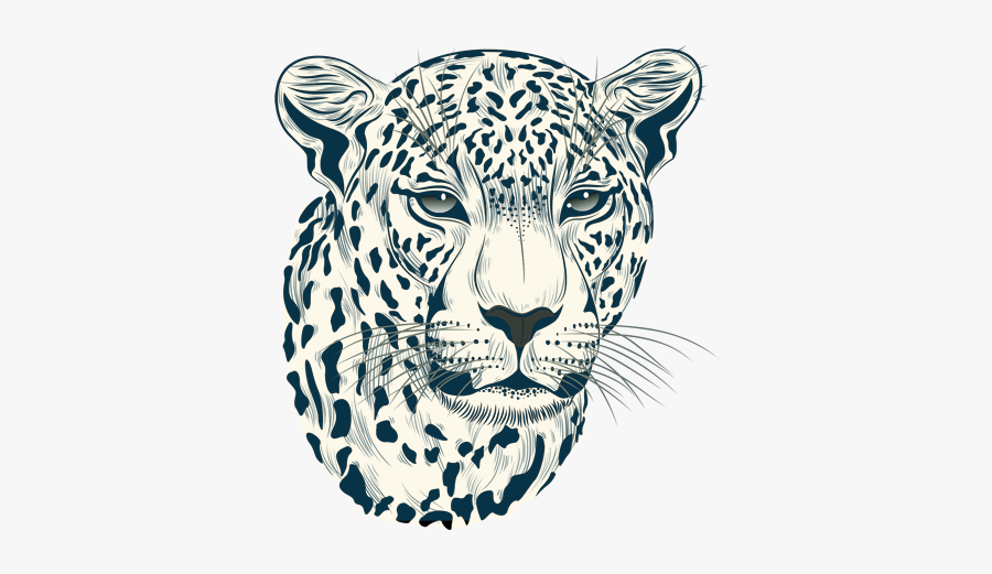 Head Vector Leopard - Black And White Leopard Face, Transparent Clipart
