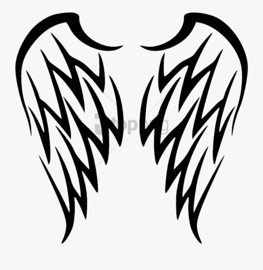 Tribal Angel Wings Tattoo Png Image With Transparent - Tribal Angel Wings Tattoo, Transparent Clipart