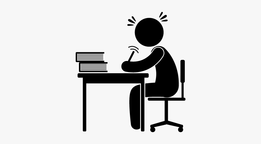 Silhouette Drawing Clip Art - Person Sitting At Desk Drawing, Transparent Clipart