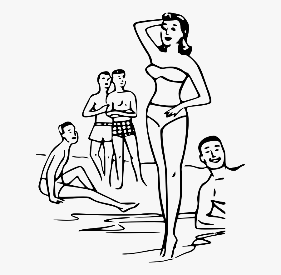 Stock Drawing Person - Drawing Beach With People, Transparent Clipart