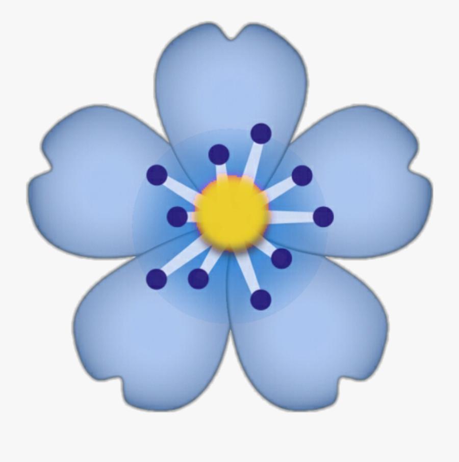 Emoji Apple Iphone Flower Fleur Cute Blue Hibiscusflowe - Transparent Background Flower Emoji, Transparent Clipart