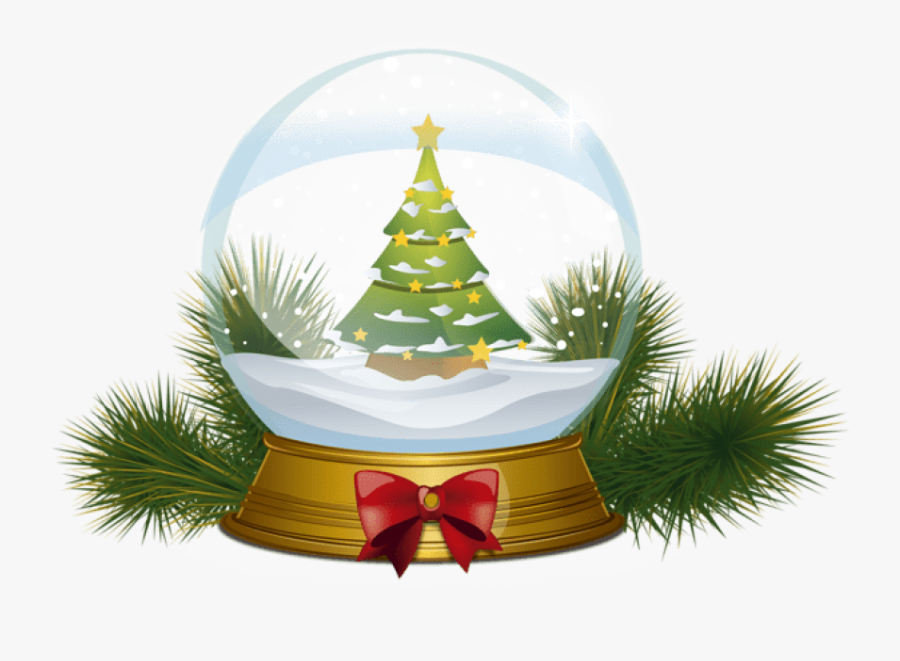 Christmas Ornaments In Snow Png - Christmas Tree Snowglobe Clipart, Transparent Clipart