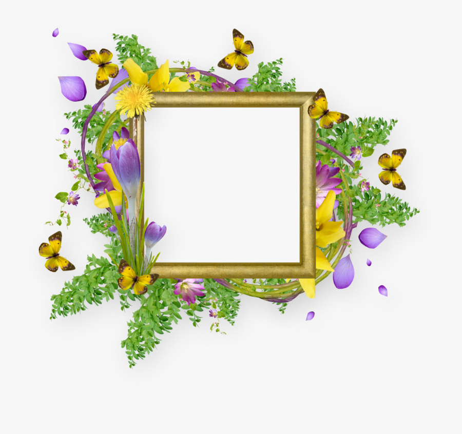 Butterfly Flower Border Design, Transparent Clipart