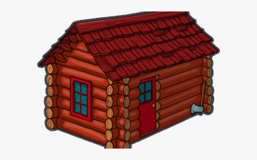 Cottage Clipart Wooden Cabin - Log Cabin Red Clipart, Transparent Clipart