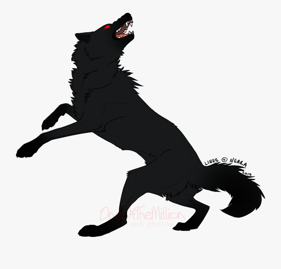 Dog Horse Silhouette Character - Jumping Wolf Angry Drawing, Transparent Clipart
