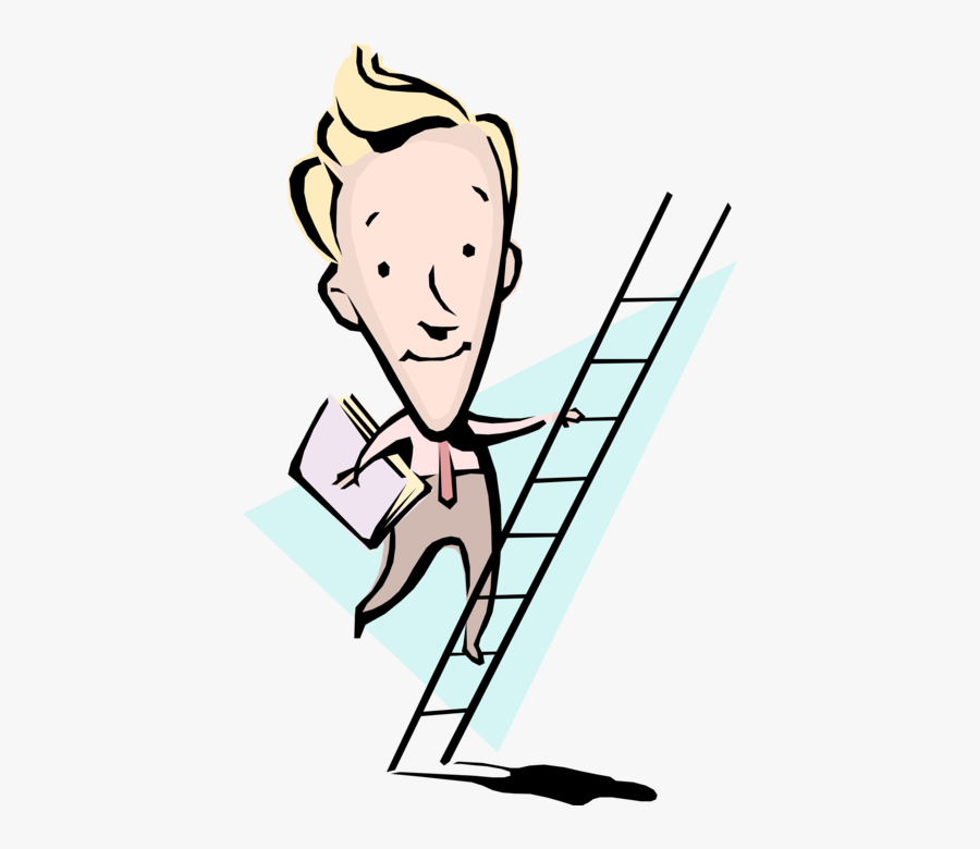 Vector Illustration Of Businessman Climbing Ladder - Leadership In Safety And Health, Transparent Clipart