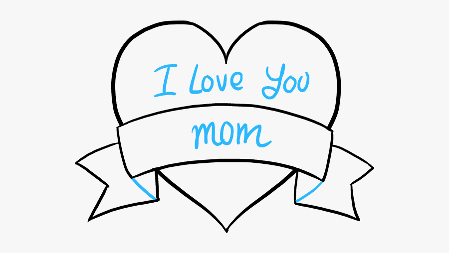 "How To Draw Mother""s Day Heart - Mothers Day Heart Drawing, Transparent Clipart"