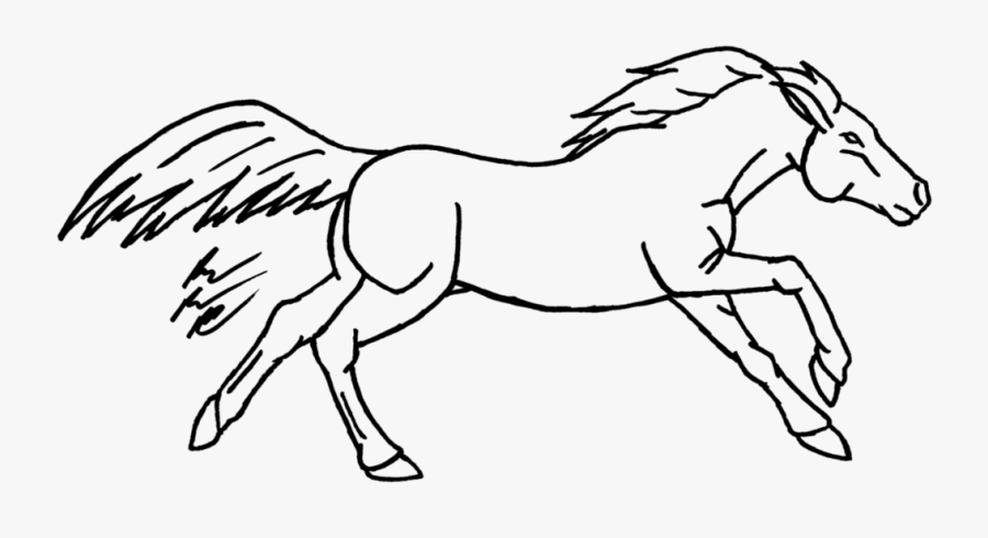 Horses Clipart Easy - Horse Running Easy Drawing, Transparent Clipart