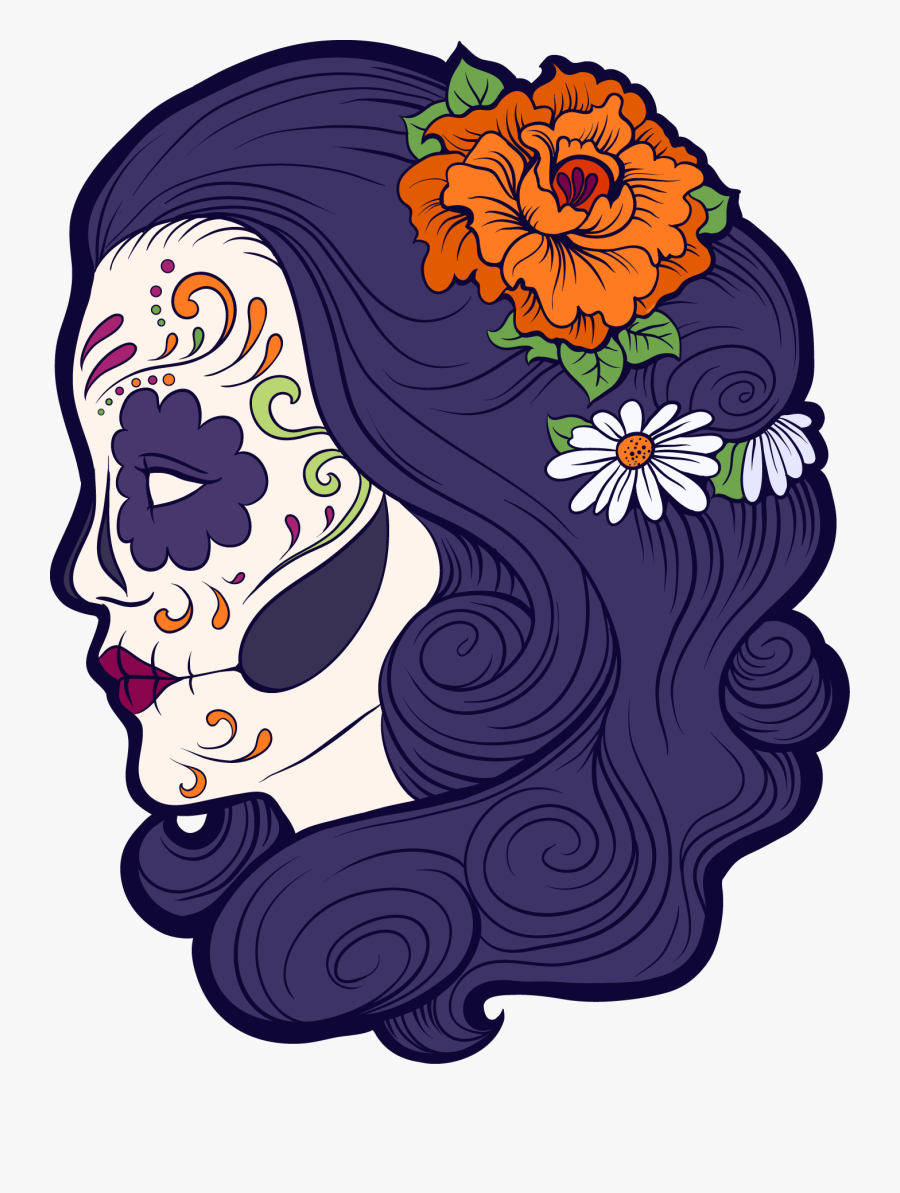 Skeleton Clipart Day The Dead - Sugar Skull Floral Png, Transparent Clipart