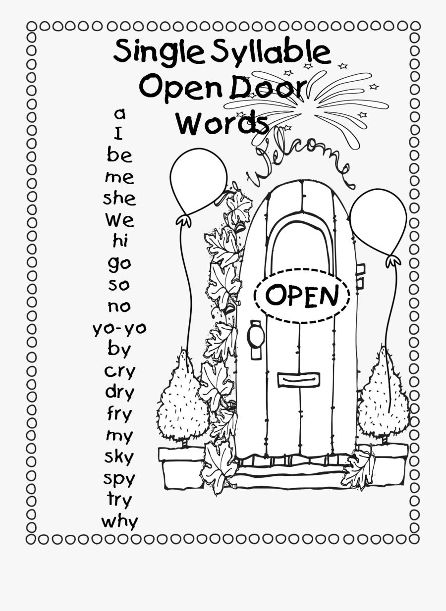 """Single Syllable """"open Door Words / Open Vowel Words - Single Open Syllable Words, Transparent Clipart"""