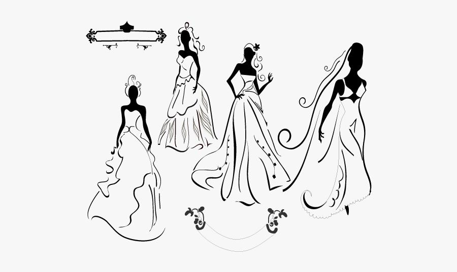 Wedding Invitation Silhouette Bride - Wedding Dress Vector, Transparent Clipart