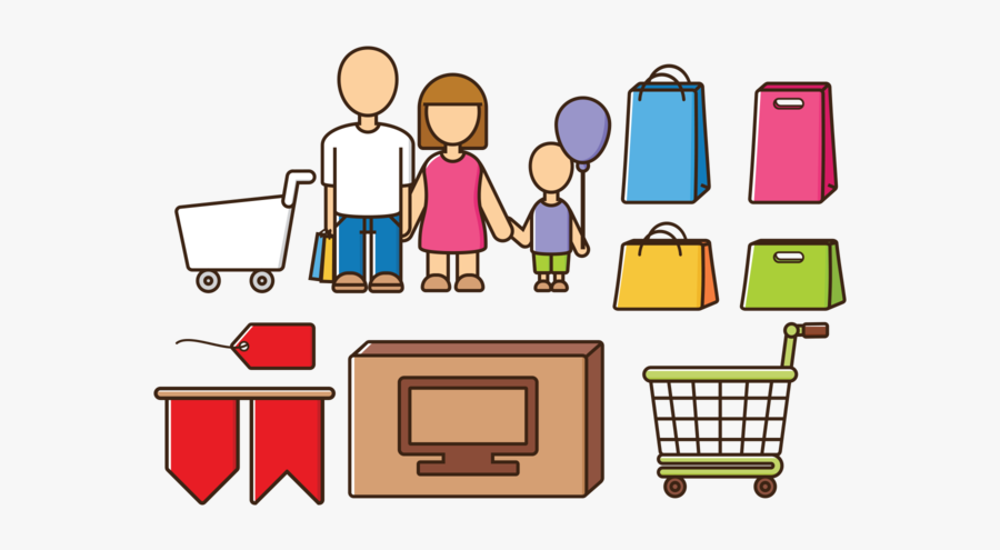 Family Vector Shopping, Transparent Clipart