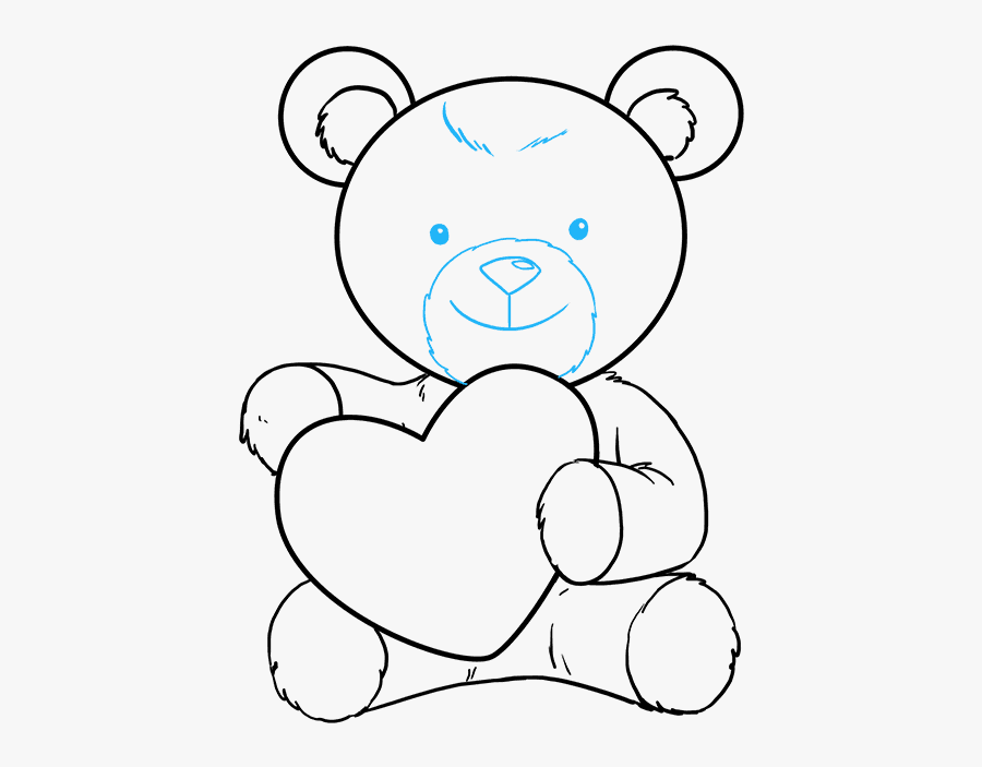 How To Draw Teddy Bear With Heart - Teddy Bear With Heart Drawing, Transparent Clipart