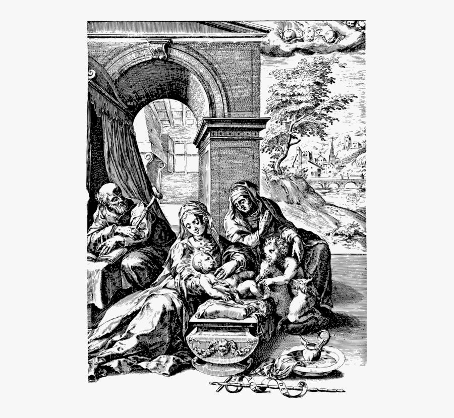 Fictional Character,art,holy Family With Saint Anne - Heilig Familie Met Anna En En Johannes De Doper, Transparent Clipart