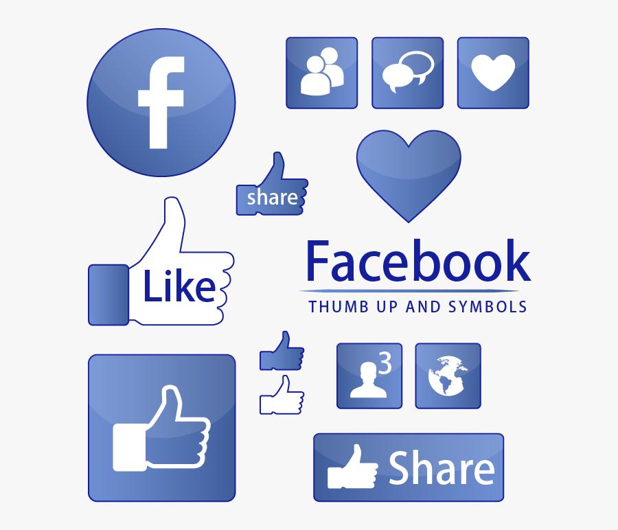 Facebook Like Button Symbol - Share Facebook Vector Png, Transparent Clipart