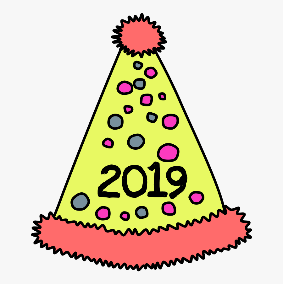 Party Hat, Pom-pom, Tinsel, Dots, 2019, Pink, Yellow - Party Hats On Transparent Background, Transparent Clipart