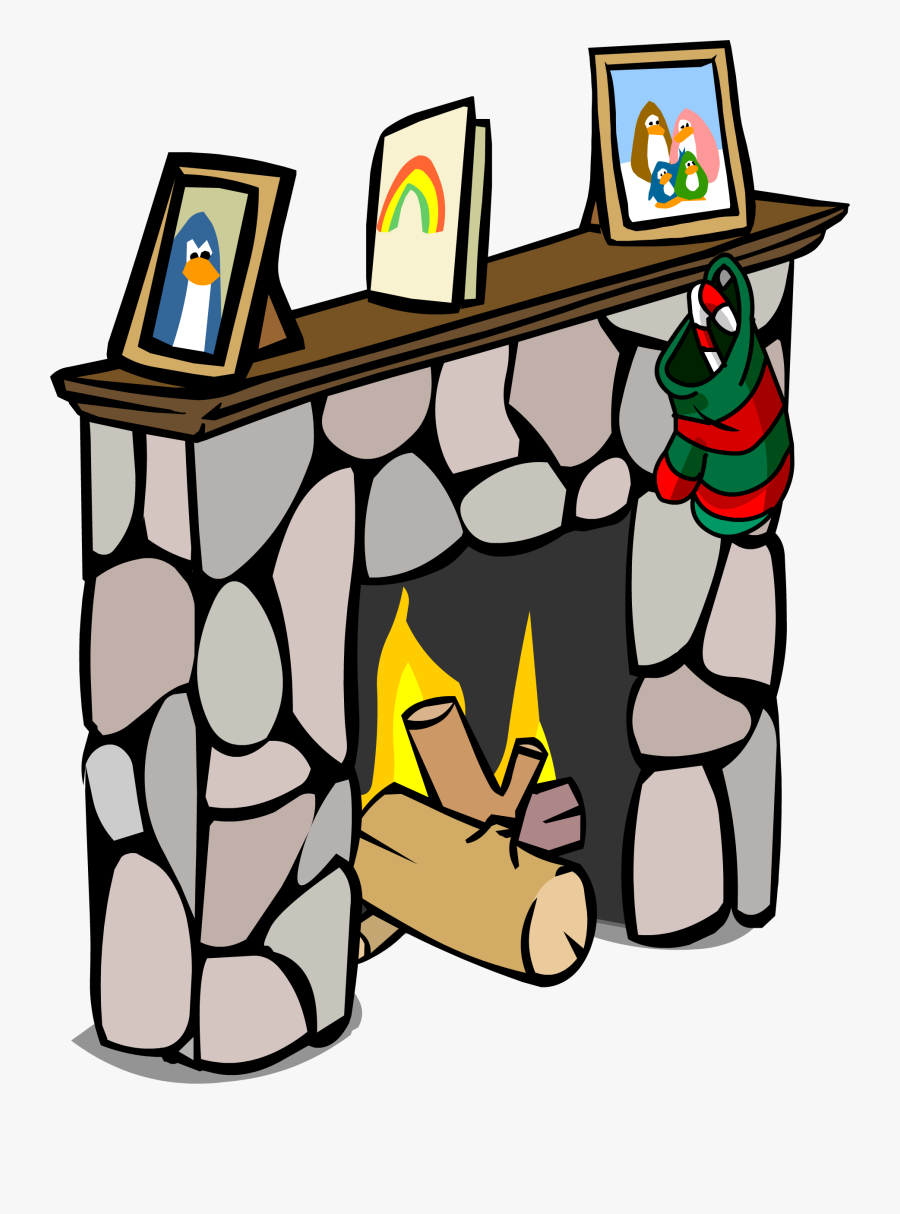 Image Fireplace Sprite Png Club Penguin Wiki - Fireplace Club Penguin Tv, Transparent Clipart