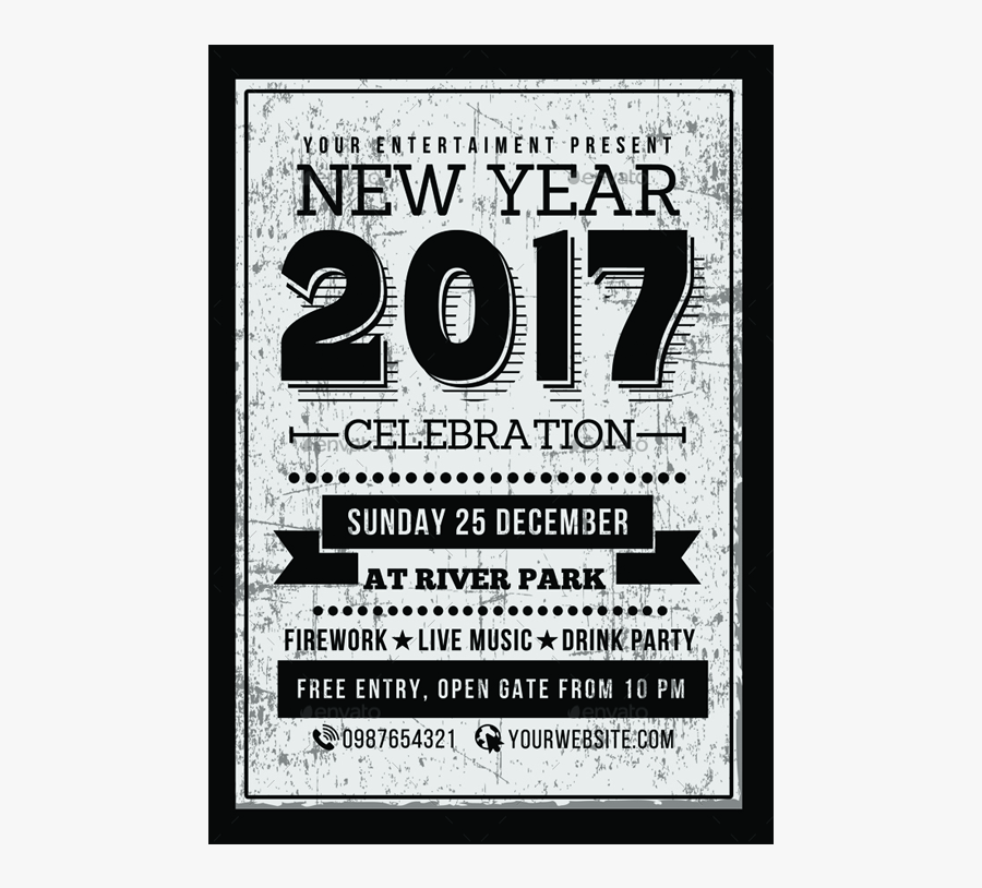 Clip Art New Years Eve Party Flyer - New Years 2017 Party Flyer, Transparent Clipart