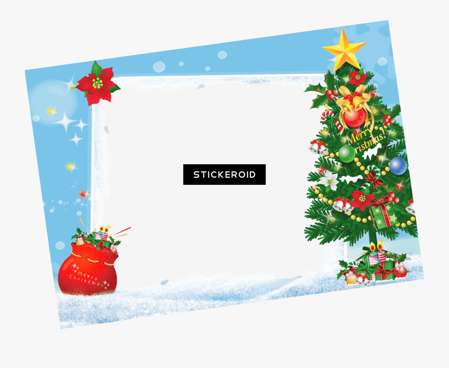 Merry Christmas Frame Tree Gifts - Transparent Background Christmas Png, Transparent Clipart
