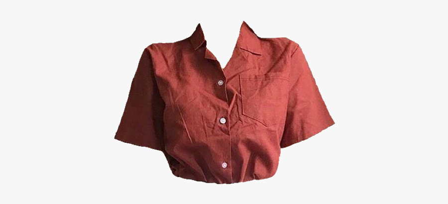 #shirt #tshirt #red #orange #buttonup #cropped #vintage - Thrift Shop Aesthetic Outfits, Transparent Clipart