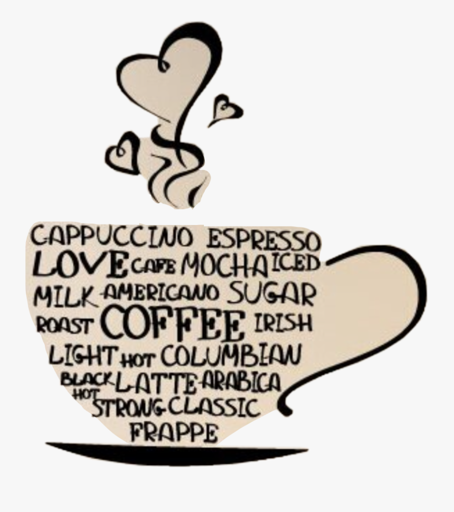 #hearts #cup #mug #coffee #love #text #art #latte #steam, Transparent Clipart