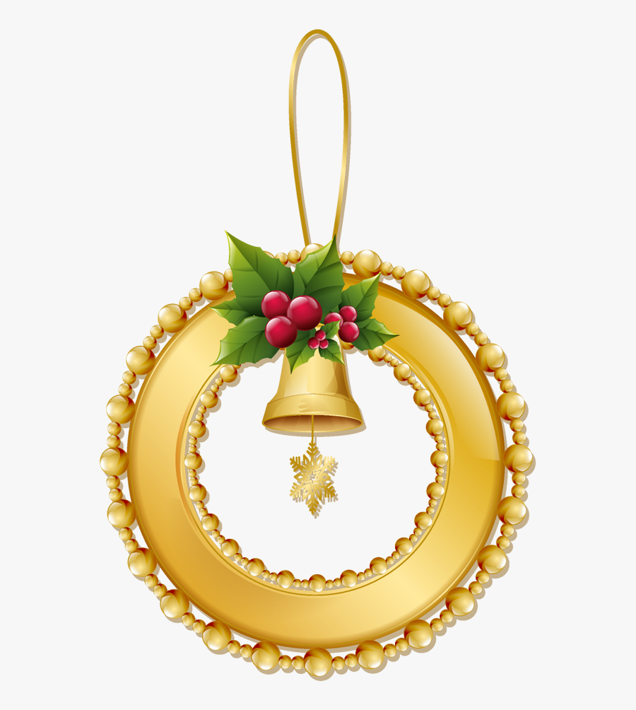 Christmas Gold Wreath With Bell Png Ornament - Gold Christmas Ornaments Clip Art, Transparent Clipart