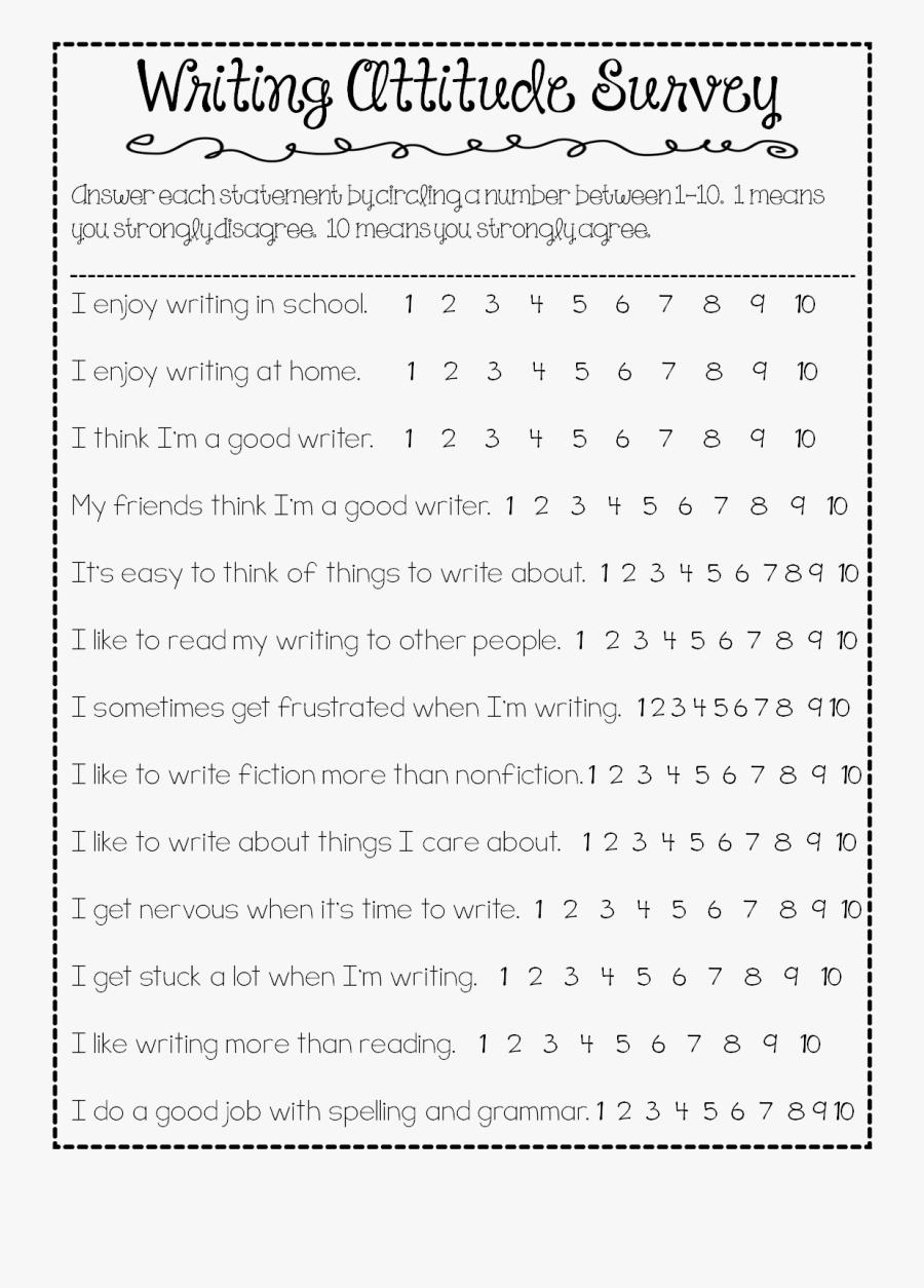 6th Grade Writing Interest Survey, Transparent Clipart