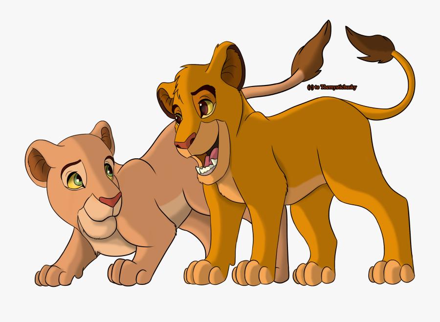Cartoon,felidae,animal Figure,clip Art,wildlife,big - Lion King Simba Nala Png, Transparent Clipart