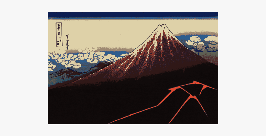 Lightning Before Summit Vector Clip Art - Hokusai Rainstorm Beneath The Summit, Transparent Clipart
