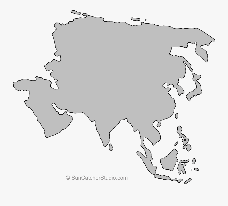 Continents, Outline, Asia - French Speaking Countries Map Labeled, Transparent Clipart