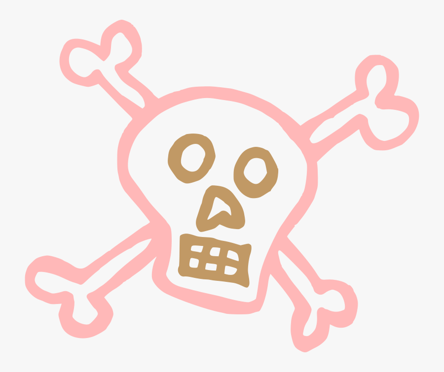 Skull And Crossbones Pink, Transparent Clipart