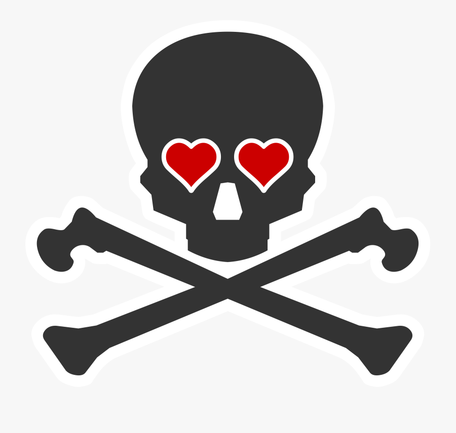 Creative Death Clip Art Medium Size - Skull And Crossbones Heart, Transparent Clipart