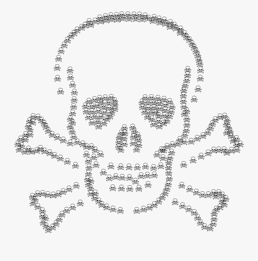 Skull And Crossbones Fractal Clip Arts - Skull And Crossbones, Transparent Clipart