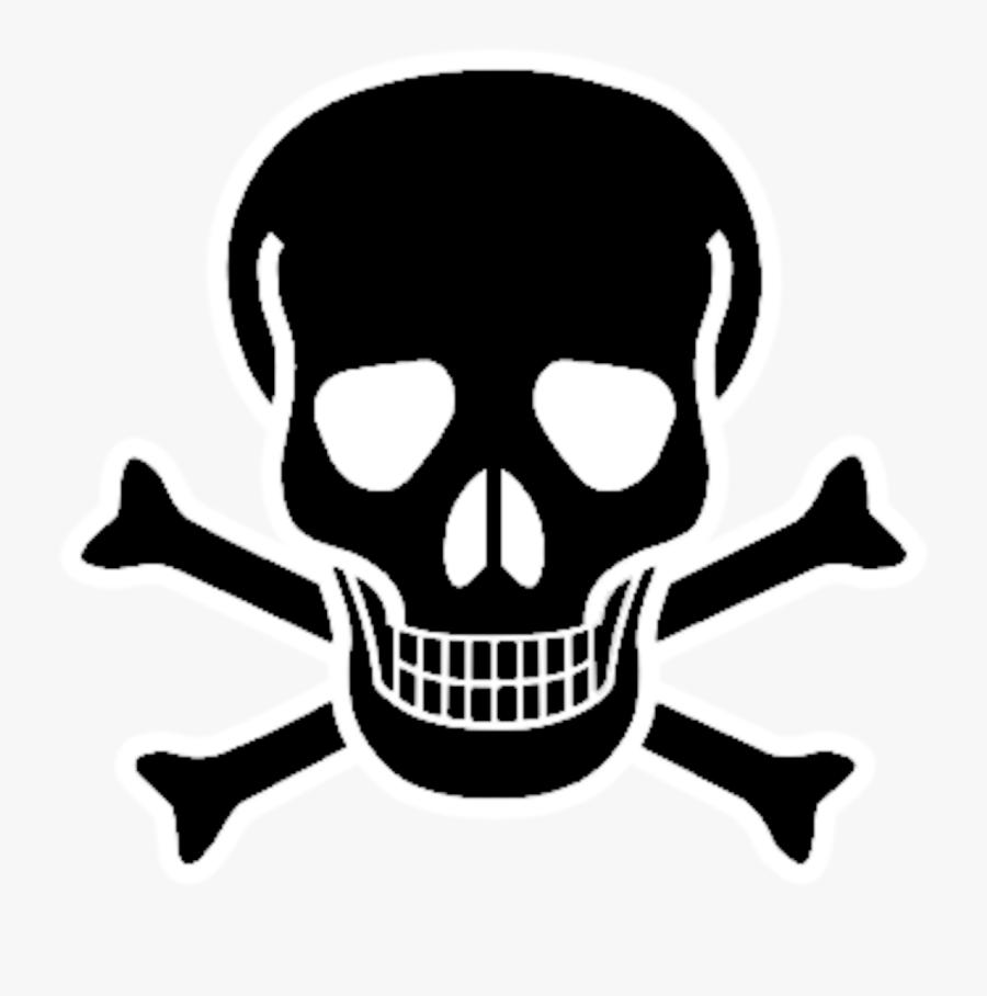 Red Skull Crossbones Bone Black And White Skull - Black Pirate Skull And Crossbones, Transparent Clipart