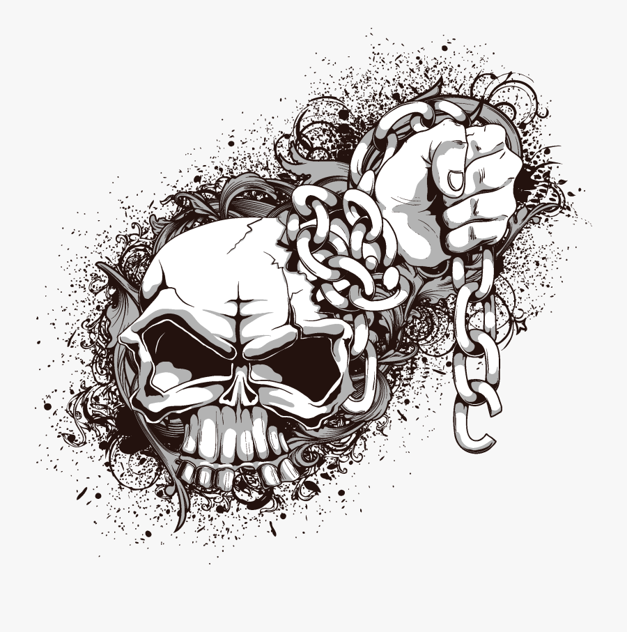 And Symbolism Human Skull Crossbones Png Free Photo - Skull And Chain Vector, Transparent Clipart