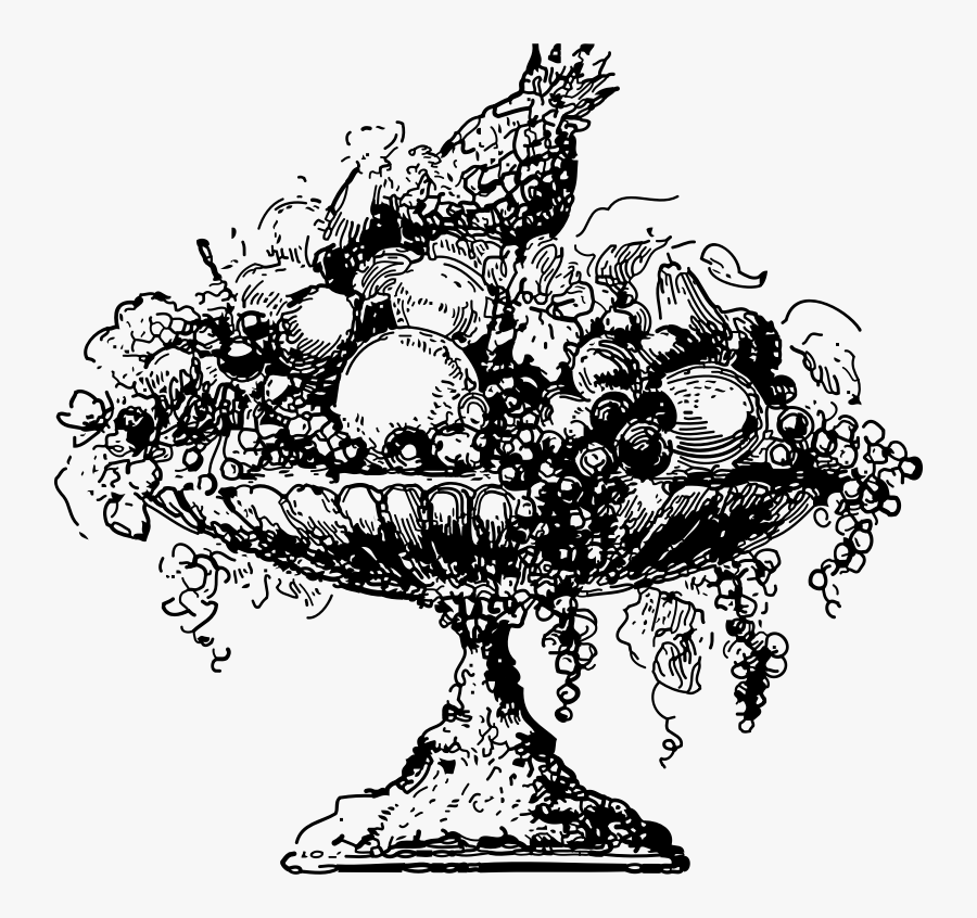 Line Art,plant,flower - Fruit In A Bowl Clipart Black And White, Transparent Clipart