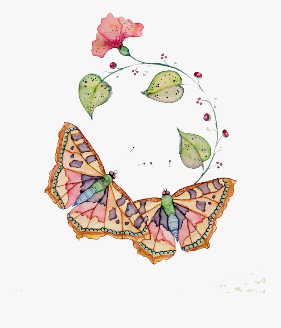 Insects Clipart Watercolor - Detail Butterfly, Transparent Clipart