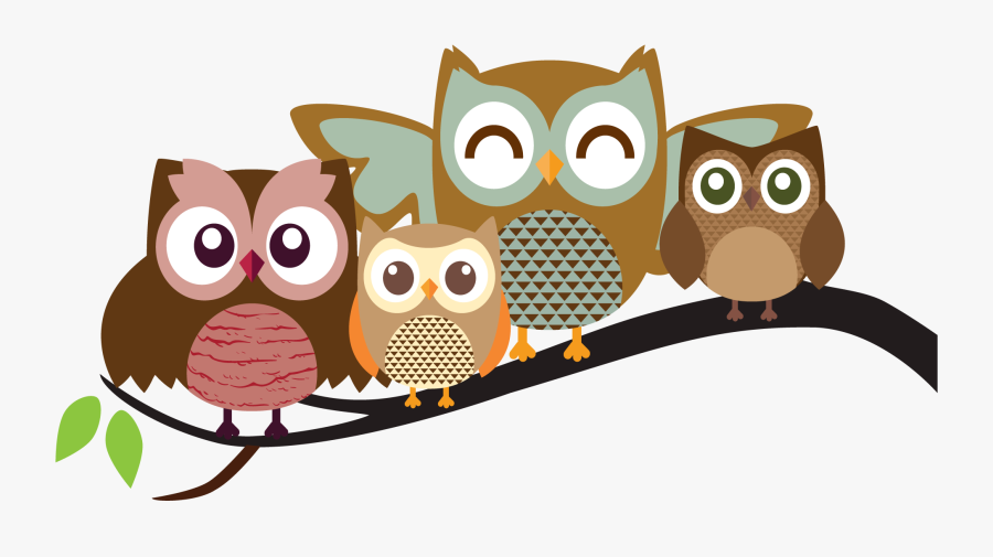 Pictures Cartoons Colorful - Owls On A Branch Clipart, Transparent Clipart