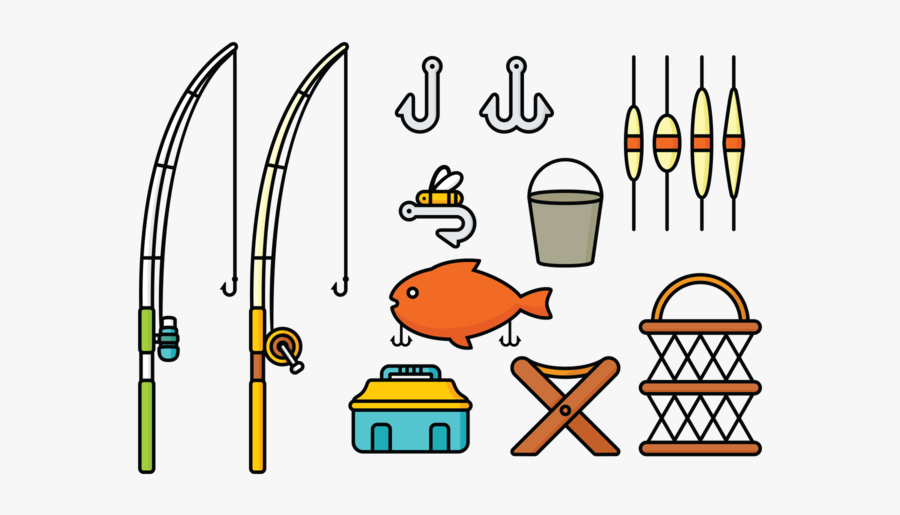 Clipart Of Pond With Fish - Clipart Of A Fisherman Tools, Transparent Clipart