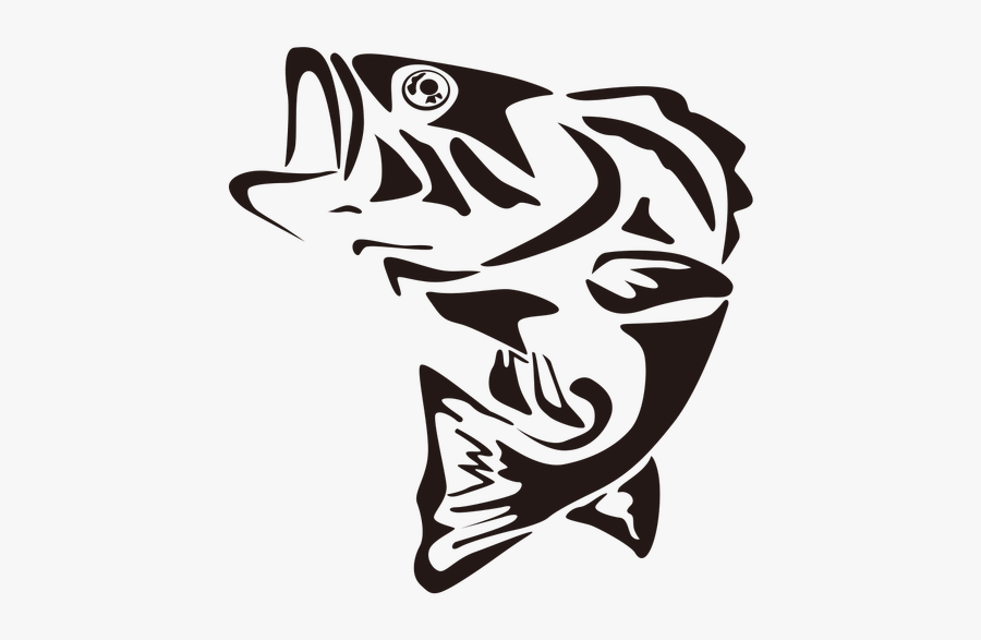 Fish Black And White Clipart Transparent Background - Bass Fish Vector File, Transparent Clipart