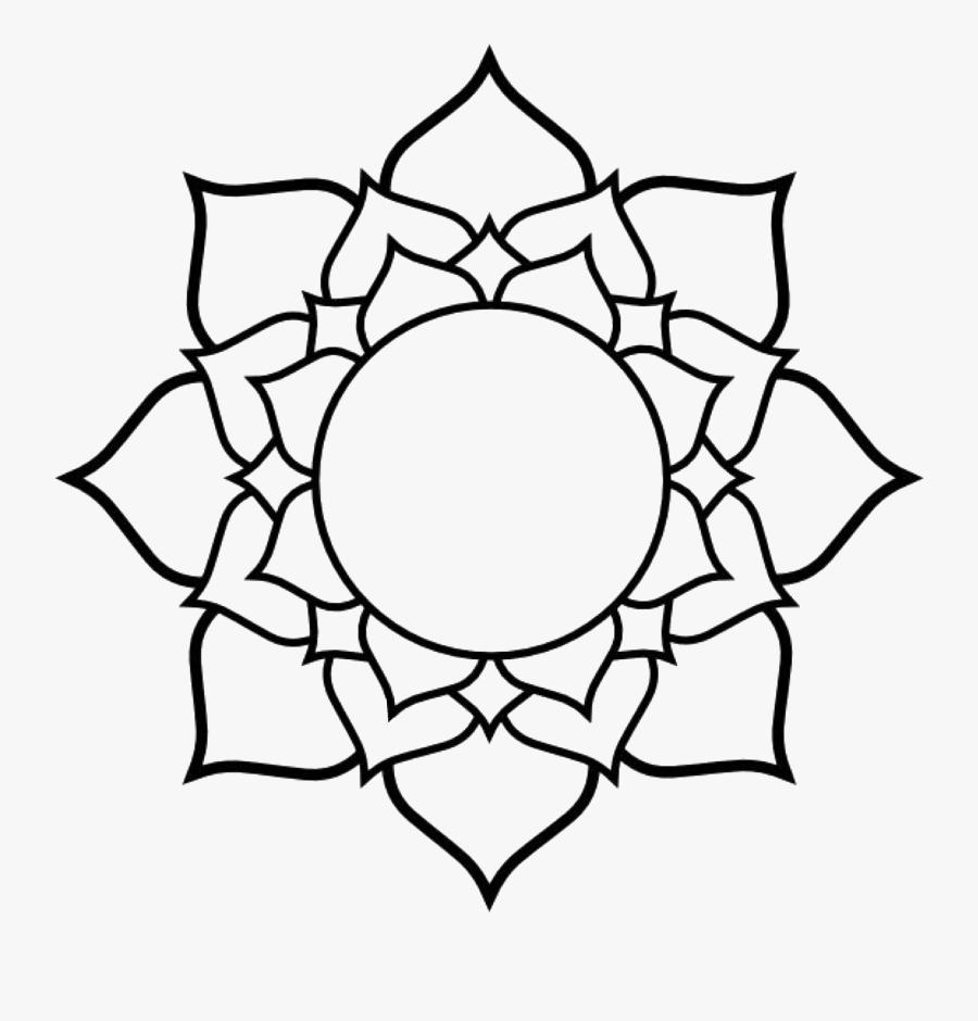 Mandala Clipart Western - Lotus Line Drawing, Transparent Clipart