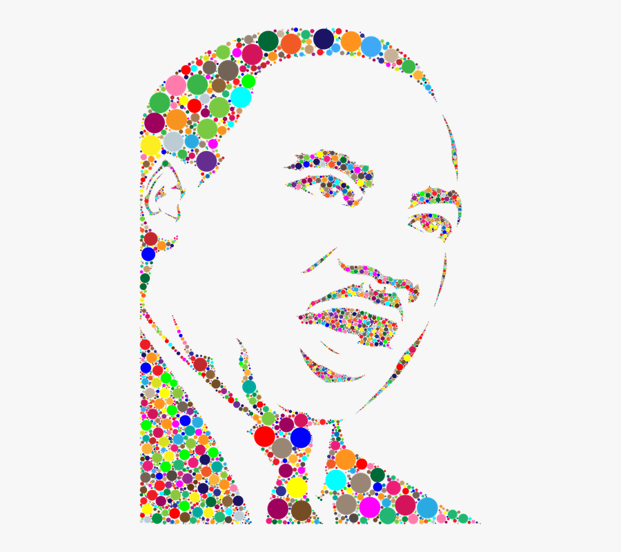 Dr Martin Luther King Jr, African American, Black - Martin Luther King Dot Art, Transparent Clipart
