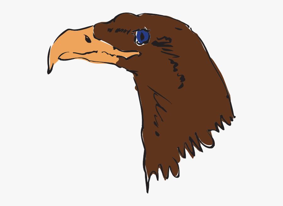 Brown Eagle Head Art Svg Clip Arts - Gambar Wajah Burung Gagak Kartun, Transparent Clipart