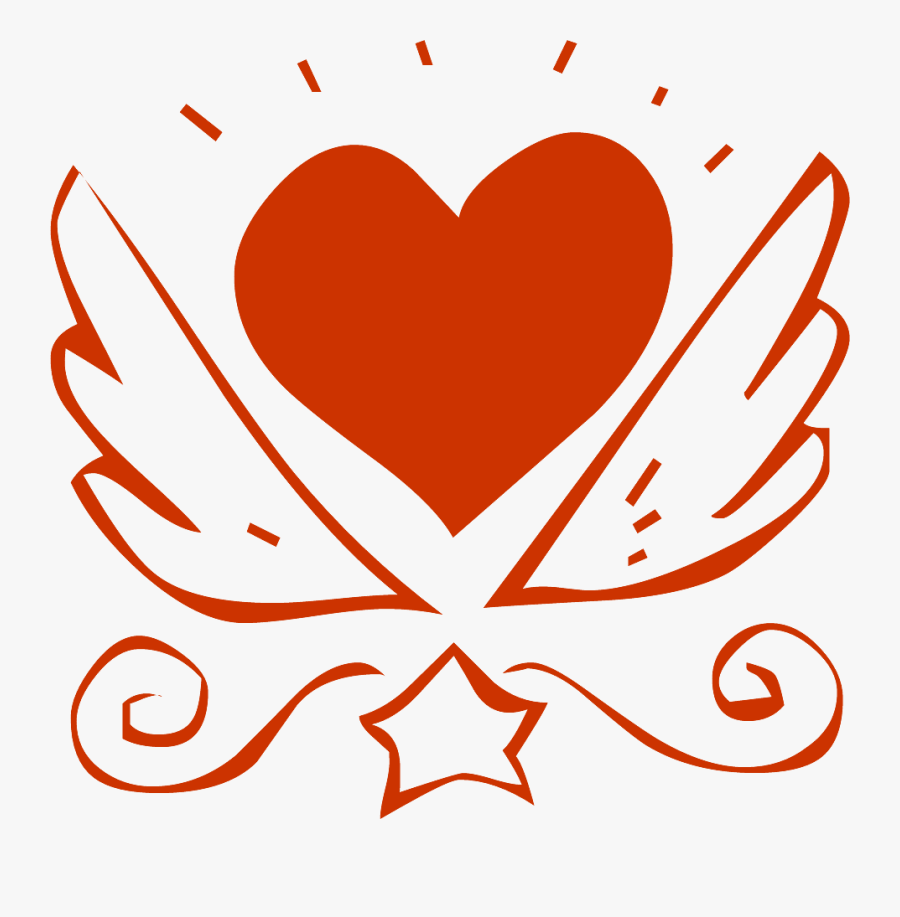 Fancy Valentine Heart Illustration - Heart With Wings, Transparent Clipart